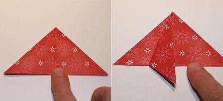 Вы условно отметили четыре треугольника, теперь надо два противоположных друг другу заправить вовнутрь