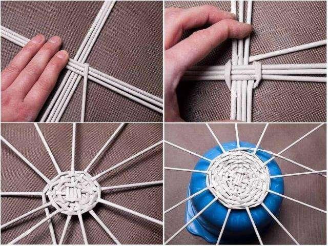 Процесс плетения поделки из трубочек