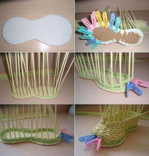 Плетем ботинок из бумаги