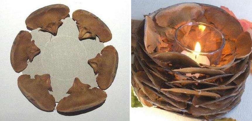 Разбираем шишку на детали-пластины, из картонного листа для основания поделки вырезаем круг вдвое больше диаметра стаканчика