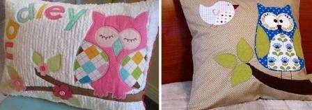 Любители сов делают целые аппликации на обычных прямоугольных или квадратных подушках. Вы можете попробовать украсить уже готовые подушки, чтобы не шить их в форме совы.