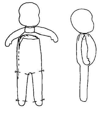 Теперь соедините руки между собой. Затем прошейте полностью туловище и набейте его, а потом вставьте руки. В местах кистей и стоп вам нужно будет сделать специальные швы, чтобы придать им форму.