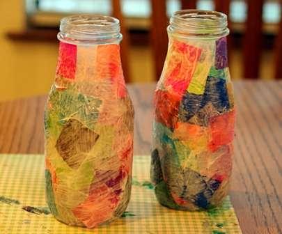 ваза из стеклянной бутылки своими руками