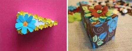Тортик из бумаги. Если вы не умеете печь торты, то попробуйте сделать кусочек тортика из бумаги. В середину такой оригинальной коробочки можно положить любимые конфеты вашей мамы.