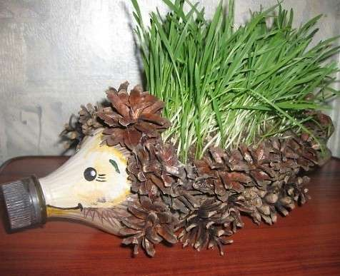 Засыпьте получившийся вазончик грунтом и посадите в него траву для животных, которая идеально имитирует колючки ёжика