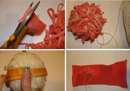 Не обязательно для пошива вальдорфской куклы использовать новые отрезки ткани. В качестве материала для головы может подойти рукав от свитера или носки, также шерстяные вещи вы можете порезать на мелкие кусочки и использовать как набивочный материал. Основной принцип, чтобы ткани были натуральными, а где вы их возьмете – ваше дело.
