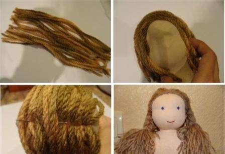 Вам нужно нарезать нитки одинаковой длины, а после этого прошить их в центре и пришить к голове. Не забудьте потом прошить волосы по кругу, чтобы они были хорошо закреплены на голове.