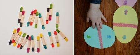 Не думайте, что дети до 5 лет не могут играть в домино. Для них вы можете сделать своими руками фишки с разными цветами сторон. Такие фишки легко оформить из картона или палочек для мороженного.