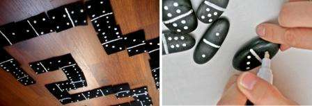 Чтобы сделать домино, вам нужно 28 фишек. Вы можете самостоятельно подобрать материал для них. Удобнее всего использовать одинаковые камешки, на которые наносится изображение в виде точек.