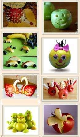 В первую очередь вам необходимо определиться с назначением изделий – украшение праздничного стола или работа на выставку. Вариантов фруктовых поделок множество: это может быть ежик из яблока, гусеница из винограда, собака из банана, букет цветов из разных фруктов и многое другое.</p> <p> Стоит немного пофантазировать и у вас могут получиться диковинные сказочные существа. Если ребенок определился и уже представил, кого он хочет сделать, то смело приступайте к созданию шедевра.» width=»261″ height=»448″/></p></div> </p> <p>Выберете основной фрукт, с которым будете работать. Обязательно помойте его и вытрите насухо.</p> <p> Также приготовьте дополнительные элементы, чтобы довести образ сказочного существа до завершения.</p> <p> После определенных манипуляций над фруктом (не забывайте про участие детей) груша, яблоко или банан, оживают в руках, и получается забавный персонаж.</p> <p><div style=