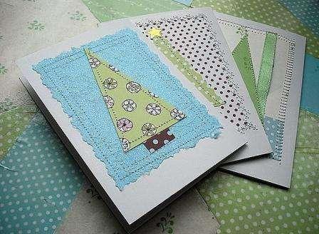 Поздравительные новогодние открытки, декорированные строчкой швейной машинки