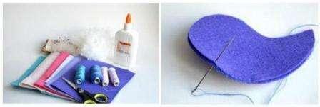 Возьмите клаптики фетра, сложите их вдвое и приложите к ним готовые бумажные выкройки.