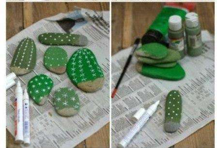 При помощи корректора, нанесите на зеленые камушки «иголки»