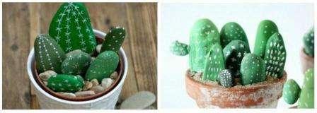 Каменные кактусы готовы! Ставим рано утром горшок с кактусами маме на тумбочку в изголовье кровати – пусть утро будет для нее приятным и праздничным