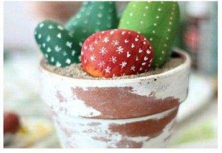 Технология создания горшка с каменными кактусами: