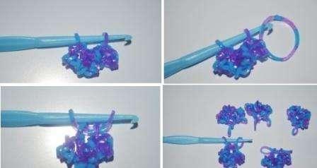 Когда все детали будут готовы, наденьте их на крючок, возьмите новую резинку и проденьте её сквозь детали. Свободная петля надевается на крючок и потом провязывается через вторую петлю, которая уже есть на крючке.</p> <p> Затяните петельку и снимите уже готовую снежинку из резинок с крючка. Если хотите использовать изделие в качестве брелка, сделайте более длинную петельку.» width=»448″ height=»238″/></p></div> </p> <p>Свободная петля надевается на крючок и потом провязывается через вторую петлю, которая уже есть на крючке.</p> <p> Затяните петельку и снимите уже готовую снежинку из резинок с крючка.</p> <p> Если хотите использовать изделие в качестве брелка, сделайте более длинную петельку.</p> <p><div style=