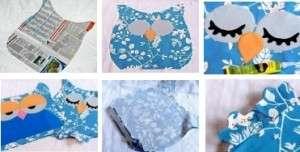 В среднем размер декоративной подушки не должен превышать 40-45 см. Сначала вам нужно чётко определиться с размеров и вырезать на бумаге или газете квадрат. После этого можете формировать контуры подушки. Шаблон контура совы или найдите в интернете или нарисуйте самостоятельно.