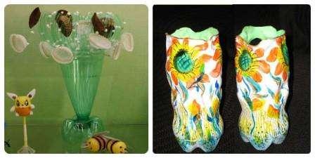 Вазы из пластиковых бутылок. Фото. Много идей