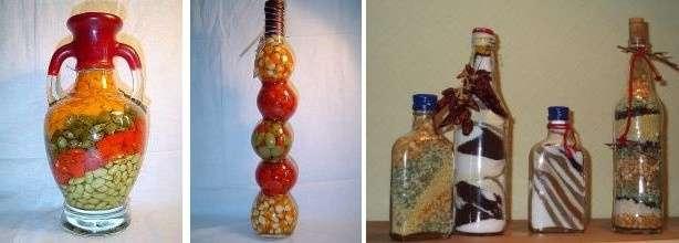 Для такой техники берут стеклянную бутылку, а сами семена или крупы несколькими слоями засыпают вовнутрь, при этом получаются оригинальные узоры и гармоничные комбинации.