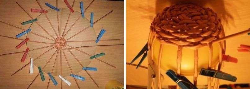 Когда пришло время оплести шаблон - болванку, трубочки основания лучше прикрепить к краям миски прищепками, или приклеить клейкой лентой.
