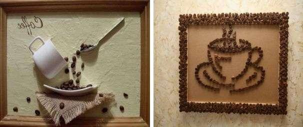 Картины из кофейных зерен, выложенных замысловатыми узорами, идеально впишутся в интерьер кухни или прихожей. Для того чтобы их сделать вам потребуются следующие материалы: