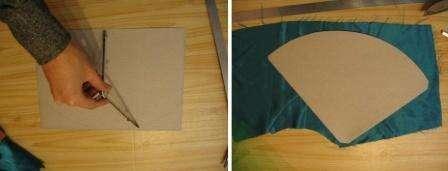 Возьмите картон и с помощью циркуля начертите сектор круга, чтобы можно было склеить конус. Лучше всего использовать для изготовления елочки картон зеленого цвета. Если у вас не нашлось такого картона, скрыть цвет можно с помощью зеленой ткани. Закрепить ткань легко горячим клеем из клеевого пистолета.