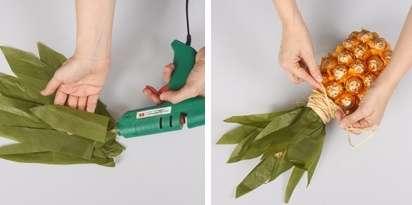 После этого возьмите бумагу тишью зеленого цвета и вырежьте из нее листья для ананаса. Желательно сложить бумагу в несколько слоев, чтобы она не рвалась.