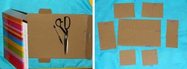 С помощью линейки и карандаша начертите на листе картона прямоугольники следующих размеров: 13×30, 6.5×15 – 2 шт, 7×13 и 5×13.