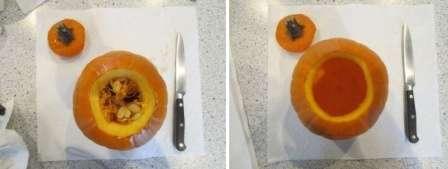 Чтобы почистить тыкву от семечек нужно будет отрезать верхнюю часть, и убрать все семечки ложкой.