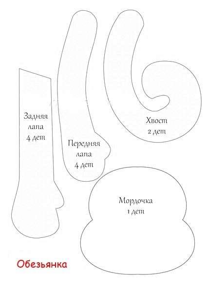 Выкройка 1. С помощью этой выкройки вы сможете вырезать заготовки для мордочки телесного цвета, а также детали для лап и хвоста.