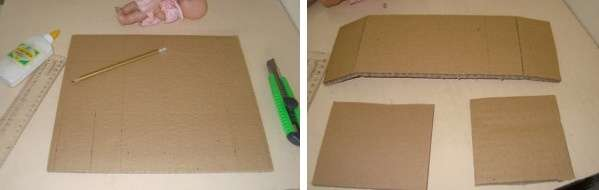 Начертите карандашом на картоне детали для изголовья, изножья и основания кровати. При этом не забудьте померить рост своей куклы, чтобы она поместилась в готовую кроватку.