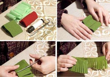 Для того чтобы сделать сосновую ветку с шишкой, вам пригодится креповая бумага коричневого и зелёного цвета, а также ножницы, флористическая проволока и тейп-лента. Сначала приступим к изготовлению сосновой ветки.