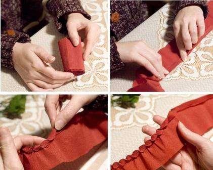 Для этого вам нужно будет взять бумагу коричневого цвета. Отрежьте также длинную полосу креповой бумаги и верхний край согните на 10 мм. Вам нужно будет по всей длине бумажной ленты делать загибы, чтобы сформировать чешуйки шишки.