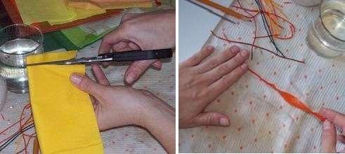 Не стоит путать Пейп-Арт с декупажем, ведь это не просто покрытие поверхности салфетками, а декорирование бумажными нитями. Для того чтобы сделать такую нить, нужно двух- или трехслойную салфетку нарезать на полоски разной длины и шириной около 1-2 см.