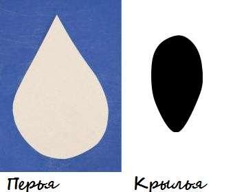 Для декорирования поделки вам понадобится черная и белая бумага. Чтобы сделать перья просто вырезайте капельки.