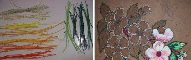 Чтобы сделать картину, вам нужно будет подготовить салфетки разных цветов. В качестве основы для картины понадобится ДВП. Возьмите какой-то красивый рисунок и вырежьте его по контуру. В нашем случае в качестве рисунка выбраны цветы.