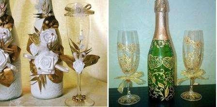 свадебные бутылки и бокалы своими руками