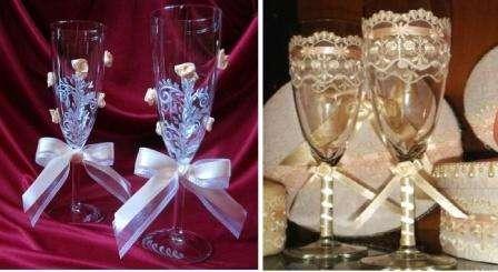 Для оформления стаканов можно также использовать кружево, ленты и бусины. Все эти элементы приклеиваются с помощью горячего клея на поверхность бокала.