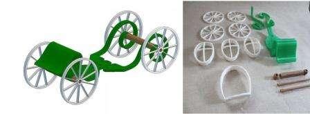 Если у вас нет пока такой техники, то нужно будет найти колеса для тыквы от старой игрушки. Эти же детали можно попробовать сделать из дерева или подобрать похожие элементы из конструктора.