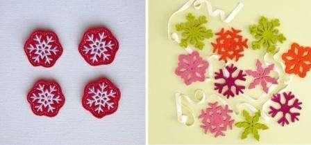 Чтобы снежинки были оригинальными, попробуйте их сверху вышить. Строчки можно сделать на швейной машинке или даже вручную.