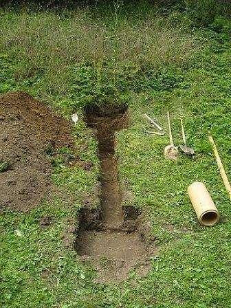 Выройте траншею на своем приусадебном участке глубиной 1,5 – 2 штыка лопаты по такому образцу: