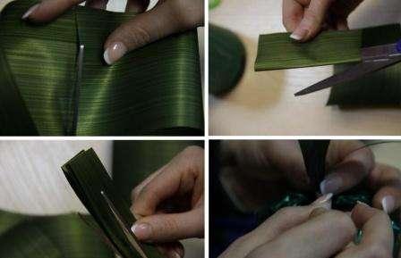 Возьмите аспидистр (декоративная лента) и вырежьте из нее листья для нашего ананаса. После этого закрепите их в верхней части фрукта и задекорируйте лентой. Всю заготовку вам нужно обклеить двусторонним скотчем, тогда конфеты можно приклеить без клеевого пистолета.