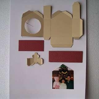 Вырезаем из картонного шаблона, имеющего текстуру холста, заготовку для домика