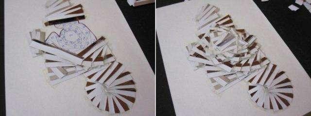 Сейчас мы начнем приклеивать полосы металлизированной бумаги к силуэту обезьянке
