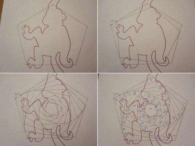 Теперь вооружимся линейкой и простым карандашом и нарисуем вокруг нашей обезьянки пятиугольник так, как показано ниже