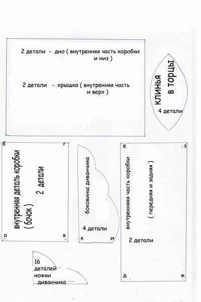 Схема этой шкатулки отличается простотой:
