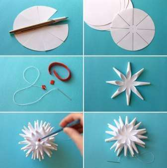 Для этой снежинки вам понадобится от 4 до 6 сегментов плоских снежинок: