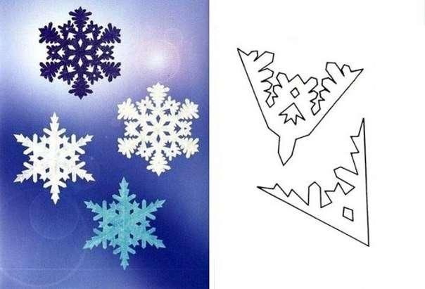 Рассмотрите эти простенькие схемки, которые помогут вам изготовить миленькую новогоднюю бумажную снежинку: