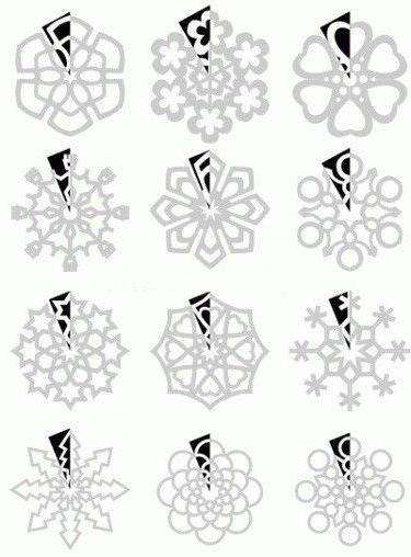 Рассмотрите эти простенькие схемки, которые помогут вам изготовить миленькую новогоднюю бумажную снежинку