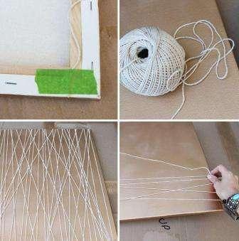Рекомендуется распылять краску-спрей не в помещении и в защитной одежде. Шаг 1: На рамке создаем рисунок из нитей.